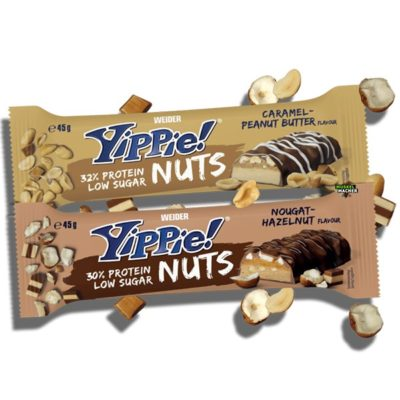 Weider Yippie Protein Bar Nuts 45 Gram Caramel Peanut Butter Nougat Hazelnut